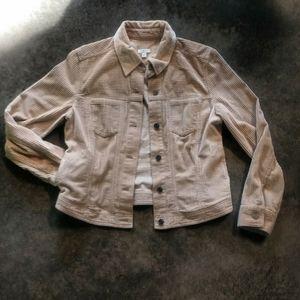 J. Jill Sand Corduroy + Velvet Jacket S